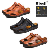 Mens Summer Closed Toe Leather Fisherman Sandals Casual Sandal Shoes Slippers AU