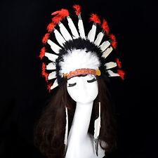 Indian Head Dress Native Red & White Chief Headdress War Bonnet Feathers Fancy