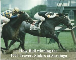 """1994 - HOLY BULL winning Travers Stakes at Saratoga - Color Close Up - 10"""" x 8"""""""