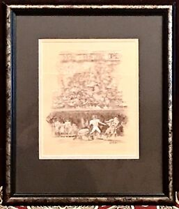 Vintage Antique Sporting American Football Print Canvas Signed By Shea Framed