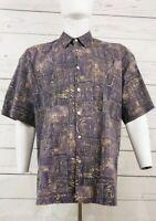 Tori Richard Hawaiian Aloha Shirt Cotton Lawn Brown Geometric Tribal Size XXL