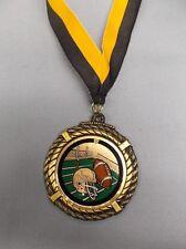 """Football award insert medal 2 1/2"""" dia black/gold neck drape"""