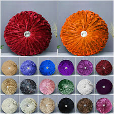 Crushed Velvet Diamond Cushions Large & Small Round Filled Cushion Sofa Pillows