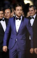 Men Blue Slim Fit Suit Groomsmen Tuxedo Formal Wedding Party Wear Coat+Pant UK