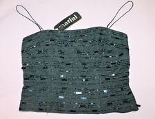 MARTINI COLLECTION Brand Dark Grey Wool Beaded Cami Top Size 8 BNWT #TM79