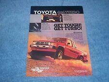 "1986 Toyota SR5 Xtracab 4x4 Turbo Vintage Ad ""Get Tough! Get Turbo!"" Pickup"
