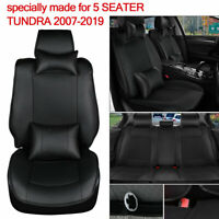 Only for TUNDRA 2007-2019 Car Seat Cover 5-Seater Truck Cushion Black PU Leather