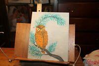 Vintage 1972 Oil Painting on Board OWL 8x10