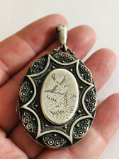 Antique Sterling Silver Aesthetic Large Locket, 925, Ornate, Heavy