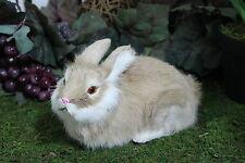 Brown Tan Lying Post Adorable Rabbit Easter Bunny Furry Animal Decor