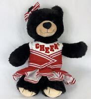 "Build A Bear Workshop Black Bear Red & White CHEER OUTFIT 16"" Cheerleader BAB"
