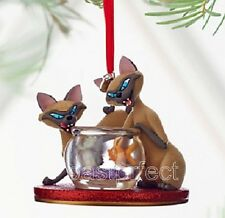 Disney Store Si & Am Sketchbook Xmas Ornament Lady & Tramp Siamese Cats Figurine