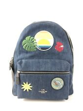 NWT Coach Patches Denim Charlie Backpack F28958 With Blue Hawaii