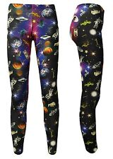 Unique Space Galaxy Universe Space Ship Planets Angel Statues Printed Leggings