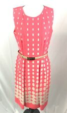 Tahari Women's Shift Dress Belted Salmon Polka Dot Box Pleat Career Size 6 CB-3