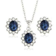 Set Kette Ohrringe Anhänger Royal Blau Ohrstecker passend für Ring Lady Diana