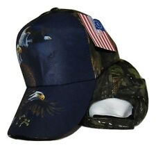 USA American Bald Eagle Shadow Blue and Camo Camouflage Printed Cap Hat
