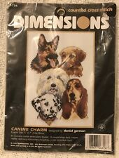 """Vintage 1997, New Sealed > Dimensions Cross Stitch< 5 Dogs 6726 """"Canine Charm"""""""