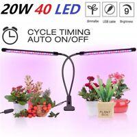 Plant Grow Light Gooseneck Dual Head LED Lamp Hydroponics Greenhouse Dimmable US