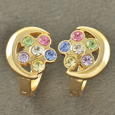Filled crystal Crystals Flowers Hoop earing New listing