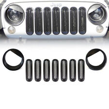 9 pcs Jeep Wrangler JK Black Angry Bird Headlight Trim Front Grill Insert Grille