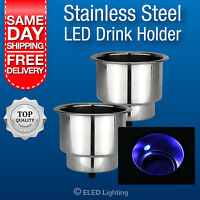 2 x Boat Cup Holder, Polished Stainless Steel