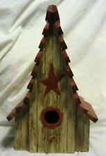 Wood Birdhouse With Red Roof, Star and Cleanout Door