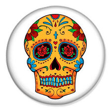 """Sugar Skull 25mm 1"""" Pin Badge Day of the Dead Tattoo Vintage All Souls"""
