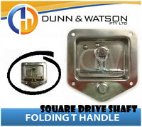 Recessed Folding T Lock / Handle (Camper Trailer Canopy) Drop T, Square Shaft