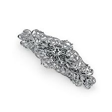 Silver-Tone Crystal Filigree Bar Barrette 1928 Bridal Hair Jewelry 13253
