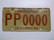 1968 '68 Illinois SAMPLE ZERO License Plate Auto Tag LAND OF LINCOLN Man Cave