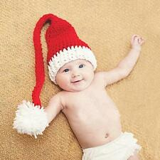 Newborn Cute  Baby Girl Boy Santa Red Hats Crochet Knit  Photography Prop