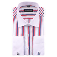 New Mens Double Cuff Striped Formal Dress Italian Designer Casual Luxury Shirts