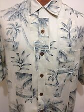 Tommy Bahama S Blue Postcards Palm Trees Aloha Hawaiian Short Sleeve Silk Shirt