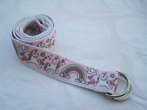 Unicorn Childrens belt handmade adjustable kids country d ring  pink pony