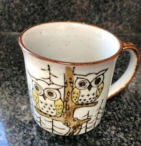 Owl Coffee Tea Mug Speckled Stoneware possible Otagiri late 70's -80's vintage
