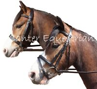 Leather Bridle & Rubber Reins. Flash or Hunter. Shetland, Pony, Cob, Full NEW