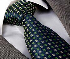 NUOVO Stilista Italiano Verde Scuro Con Motivo Cravatta di seta