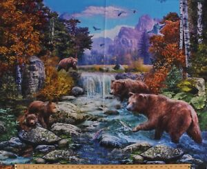 """34.25"""" X 44"""" Panel Grizzly Bears Brown Bears Landscape Cotton Panel D475.71"""
