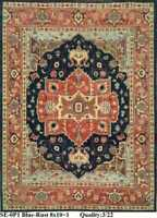 8x10 Tribal Handknotted Fine Wool Rug Navy,Ivory,Blue, Rust Color1/2'pl