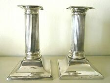 More details for antique sterling silver sheffield 1904 candlesticks columns henry wigfull