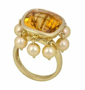 Modern 14K Yellow Gold 8.75 CT Citrine Cushion Cut Pearl Dangle Cocktail Ring