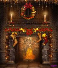 Christmas Fireplace Vintage Wall Wreath Photo Background 5x7ft Vinyl Backdrop