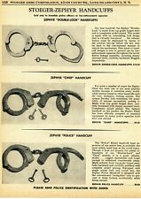 1961 Print Ad of Stoeger Zephyr Double-Lock, Chief & Police Handcuffs