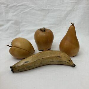 Lot of 4 Wooden Fruit Apple Banana Pear Peach
