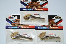 3 lures evergreen zman jack hammer 1/2 oz custom bladed bass jig golden shiner