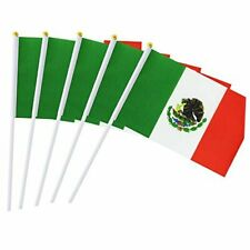 25 Pack Hand Held Small Mini Flag Mexico Flag Mexican Stick Flag Round
