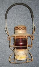 Antique Railroad Kerosene Lantern Red Glass