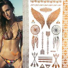 Wing Feathers Tattoo Sticker Metallic Flash Tattoos Temporary Tattoo Sticker WB