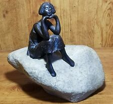 Bronze Looking Woman Sitting Pondering On Rock Figurine Sculpture~Poly Resin